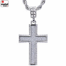 "Men's Silver Plated Iced Out Glitter Cross Pendant 24"" Rope Chain Set HC 2044 S"