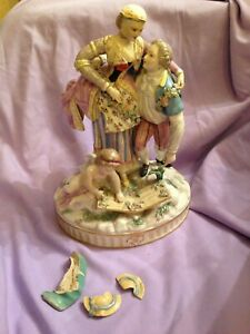 vintage continental lovely figurine for restoration ? german meissen style