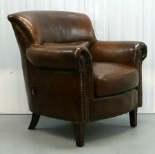 ARTSOME COACH HOUSE COLLECTION VINTAGE BROWN LEATHER CLUB ARMCHAIR