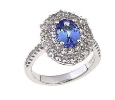 Rarities 2.08ctw Tanzanite & White Zircon S Silver Double Oval Frame Ring Size 7