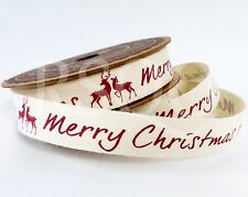 Cream Merry Christmas Red Stag 5m Vintage Craft Gift Wrapping Cotton Ribbon