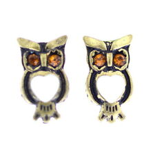 Vintage style gold and white owl stud earrings