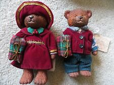 RUSS Bears From The Past Boy & Girl with Present Christmas Holidays RET NWT