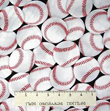 Sports Fabric - In the Game Baseball Toss on Black - Windham YARD