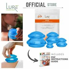 Edge Cupping Therapy Set by Lure Essentials Silicone Vacuum Cups - 4 Blue Flex