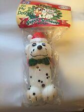 New listing Vo-Toys Dog Toy Vinyl Dalmatian Bone 5 Inch Soft Squeaker Xpet W/ Santa Hat