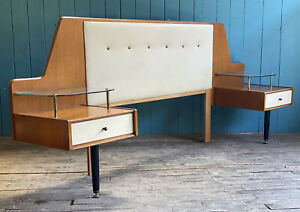 MID CENTURY G Plan China White Oak Headboard & Bedside Tables DELIVERY*