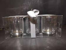 SET OF 3 MERCURY SILVER OVERLAY GLASS VOTIVE CANDLE HOLDERS w/BOX