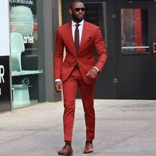Red Men's Suits Peak Lapel Formal Groomsman Tuxedo Business Work Set Slim Fit