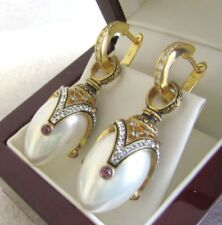 PEARL EARRINGS HANDMADE RUSSIAN SOLID STERLING SILVER 925 24 K GOLD PLATED
