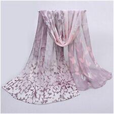 destockage foulard écharpe neuf 100% mousseline de soie feuilles mauve rose dd59f560b7e