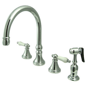 Elements of Design 2-Handle Kitchen Faucet with Sprayer ES2791PLBS
