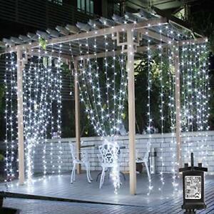 Mains Powered Outdoor Gazebo Lights, 3m x 3m Cool White Curtain Lights