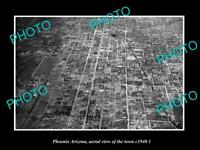 OLD POSTCARD SIZE PHOTO PHOENIX ARIZONA, AERIAL VIEW OF THE TOWN c1940 2