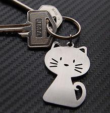 CAT Pussy Moggy Feline Cute Novelty Gift Keyring Keychain Key Bespoke Stainless