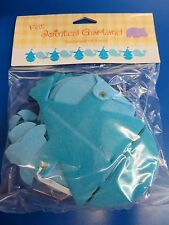 Sailboat & Whale Animal Blue Baby Shower Party Decoration Jointed Felt Garland