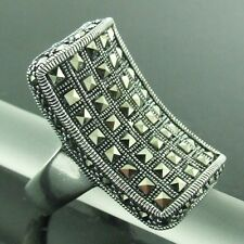 RING GENUINE HALLMARKED REAL 925 SOLID STERLING SILVER LADIES MARCASITE DESIGN 9