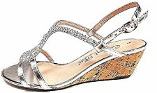 Ladies Comfort Plus DORAL Wider Fitting  Wedge Heel Silver Sandal size 3 to 8