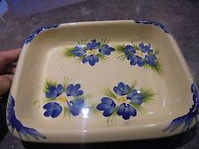 Ancien Joli Petit Plat Céramique au Décor Fleuri de Violette ou Iris