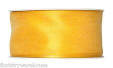 """Giallo Nastro in Organza 40mm (1.5"""") cablato tessuto 25m rullo fatto in Germania"""