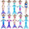 Kids Girls Mermaid Tail Swimmable 3pcs  Bikini Set Swimwear Swimsuit  Costume
