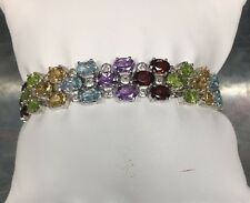 Sterling Silver 925 Amethyst Peridot Garnet Citrine Topaz Oval Tennis Bracelet