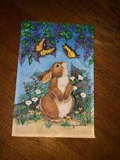 Michelle Lash Ruff Thumper Rabbit Bunny Butterfly Garden Outdoor Mini Flag 12x18
