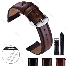 Coffee 18 20 22mm Genuine Leather Watch Strap Quick Release Wristwatch Bands