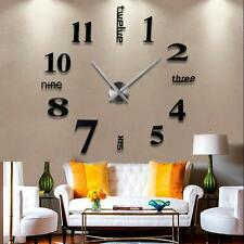 Modern DIY Large Wall Clock 3D Mirror Surface Sticker Home Office Decor Black