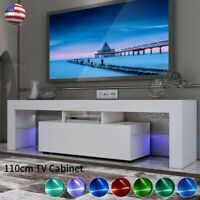 """White High Gloss TV Stand Console Cabinet w/ LED Living Room Storage Shelves 43"""""""