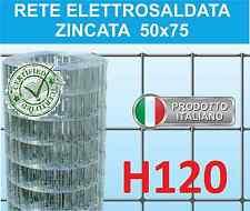 25mt RETE METALLICA ZINCATA ELETTROSALDATA-MAGLIA 5x7,5cm-PER RECINZIONE H120