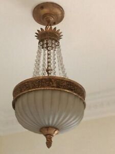 Beautiful Chandelier In Empire Style With Crystals And Decorative  Plated Brass