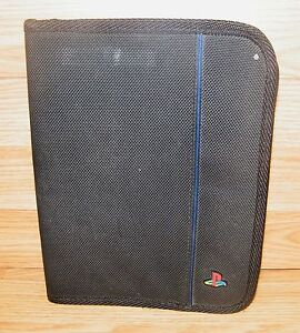PlayStation PS1, PS2, PS3 Black Game Disc & Manual Zip Up Case Holds 15 Discs