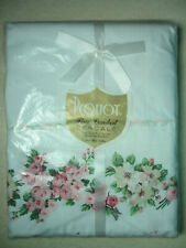 "TWIN FLAT SHEET - Pink ""Sweetheart Rose"" & Dogwood - Vintage PEQUOT - New in Pkg"