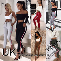 UK Womens High Waist Side Striped Trousers Ladies Active Track Pants Size 6 - 14