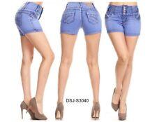 Diva star colombian 3040 light blue stretch levanta cola high waist 4'' shorts