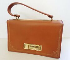 """FLORENCE LEATHER SCHOOL vintage tan gold flap top frame satchel bag 9.75"""""""