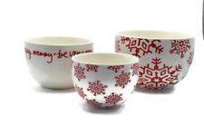 Crate and Barrel Snowflake Nesting Bowls White Red Holiday Be Very Merry Snow