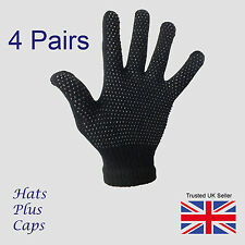 4 Pairs black Gripper thermal one size stretch magic driving gloves men womens