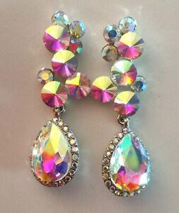 "AB Rhinestone Earrings Unicorn Crystal Fashion Statment Pageant Queen 2.1"" 1033"