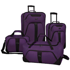 US Traveler Oakton 4pc Purple Light Rolling Luggage Suitcase Duffel Tote Bag Set