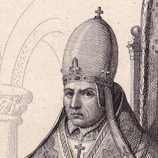Portrait XIXe Gerbert d'Aurillac Pape Sylvestre II Mathématiques Chiffres Arabes