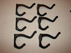 6 Vintage Black Metal Wall Mount Double Hooks - New Old Stock