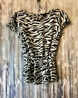 Investments Womens SS Black & White Zebra Print Top Shirt Size M 100% Polyester