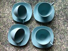 More details for vintage aqua midwinter modern melamine cups & saucers x 4 camper van camping