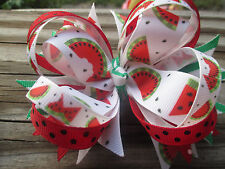 Hair Bow a Large Boutique style Watermelon who doesn't love it handmade Hair bow