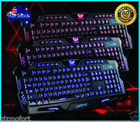 3 Colors Switchable LED Backlit Backlight USB Wired Gaming Keyboard - NSW DEALS