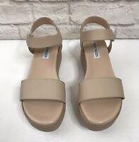 STEVE MADDEN EASTSIDE Nude Leather Platform Sandals Womens Size 8