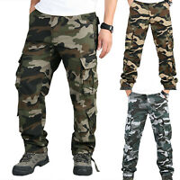 Men's Military Combat Trousers Camouflage Cargo Camo Army Casual Work Long Pants