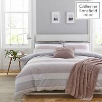 Catherine Lansfield Newquay Stripe Pink/Grey Quilt/Duvet Set Single/Double/King